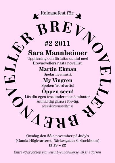 Flyer Brevnoveller #2 med Sara Mannheimer